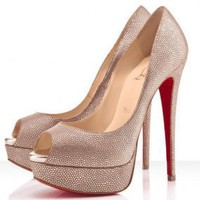 Christian Louboutin Lady Peep 150mm Gold Pumps