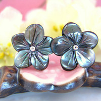 Gray pearl cherry blossom stud earrings