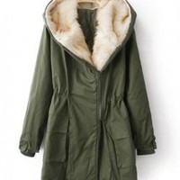 Laple Hooded Long-sleeve Coat Green - Designer Shoes|Bqueenshoes.com