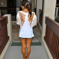 Butterfly/ Fringed slevs Hawaii Warriors T-shirt