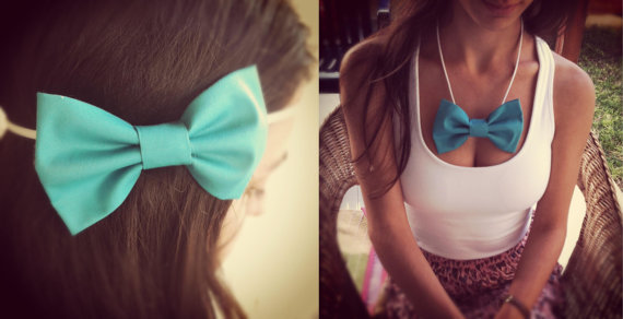 Headband bow necklace Turquoise LARGE Bow