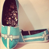 Hand Painted Tiffany & Co Bow Flats Swarovski Toms Keds Tiffany Blue Shoes Flats tiffany and co