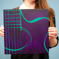 12 x 12 Acoustic Guitar Musical Instrument Wood Canvas (Purple Traditional Wood Cradled Panel w/ Green) Screenprint/Painting
