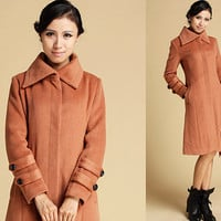 asymmetric collar camel cashmere coat (342)