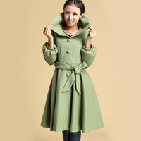 Green wool shawl collar coat  (330)