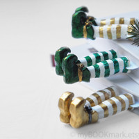 Christmas Elves as bookmarks. Emerald green, golden shoes. Shiny fun for kids, for him, children, all, her, host, office. Oht Christmas