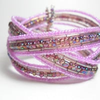 Braided Cuff Bracelet Lavender and Pink Beaded Cuff Bracelet