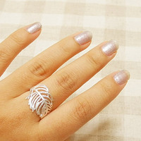 Cute Silver Plated Leaf Open Ring