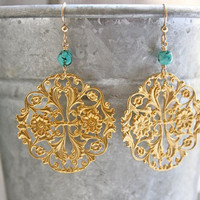 Chandelier earrings. Gold earrings. Drop. Blue jewelry. Turquoise earrings. Turquoise jewelry. Gold turquoise. Filigree. Floral. DAYBREAK
