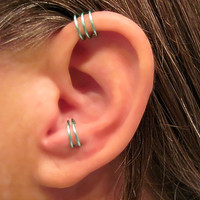 "Sale 2 Cuffs No Piercing 1 Helix Cuff Ear Cuff ""Triple Loops""  & 1 Anti Tragus Cuff ""Simple Loops"" Aqua Cartilage"