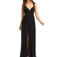 ABS - Pleated Ruffle Gown