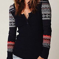 FREE PEOPLE CABIN FEVER THERMAL TOP NAVY NWT