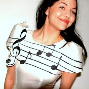 White Music Note Dress 2 4 6 8 10 12 by devowevo on Etsy