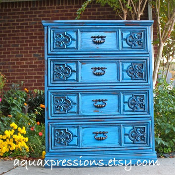 Vintage Cosmic Blue Chest of Drawers