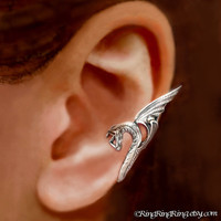925. Sea Serpent - Sterling Silver ear cuff earring, wing snake dragon earcuff, Left non pierced jewelry for men and women  102512