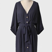 OOS Demure Darling Shirt Dress In Navy | Ruche