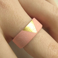 Gilded Jewelry - Gold and Pink Porcelain Sunset Ring