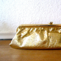 1960s Gold Clutch Eggplant Interior lining by nellsvintagehouse