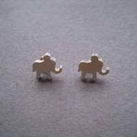 Baby elephant sterling silver post earring
