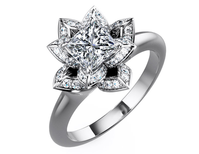 Engagement Ring Lotus Princess Diamond From Mdc Diamonds