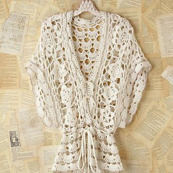 Free People Vintage Metallic Crochet Sweater