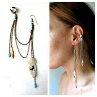 Single Earring With Ear Cuff. Turquoise &amp; Wolf Totem Arrowhead. One of a Kind