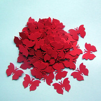100 Die Cut Butterflies - Crimson Red
