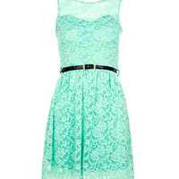 Mint Sweetheart Lace Shift Dress - Clothing - desireclothing.co.uk