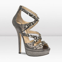 JImmy Choo Swarovski Crystal Glitter Leather Sandal
