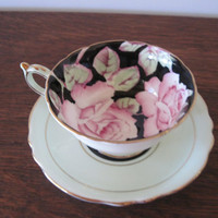 Paragon Footed Teacup and Saucer, Mint With Pink Roses and Gold Trim, A675/8