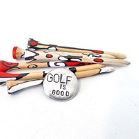 Golf ball markers for women - hand painted tees red white black