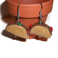 Taco Earrings, Mexican Food, Food jewelry, Taco jewelry, Polymer Clay Charms, Fun Accessories, Polymer Clay Food, Food Miniatures,