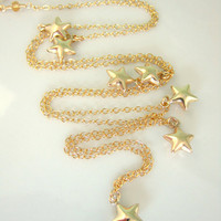 Gold bubble stars gold filled necklace