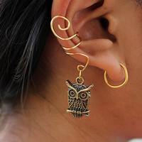 Gold (or Silver) Owl Ear Cuff