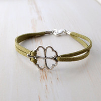 Lucky Charm Bracelet, Lucky Jewelry, Four Leaf Clover, Charm Bracelet, silver shamrock