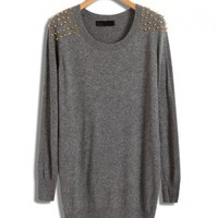 Gray Longline Knitwear with Golden Rivets Shoulders