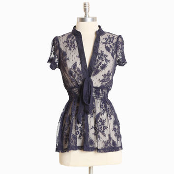 shadow lake navy lace top - $33.99 : ShopRuche.com, Vintage Inspired Clothing, Affordable Clothes, Eco friendly Fashion