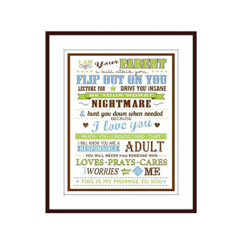 Parent Rules Wall Decor Digital Typography Subway Art Print - I Am Your Parent  Art Poster 8 X 10 - Wall Art