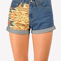 Tobi Tribal Denim Short - Blue at Necessary Clothing