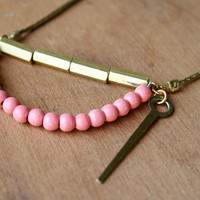 $40.00 The SHELLY / Pink wooden beads and geometric by treeswithknees