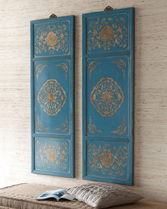 Two Gold & Blue Wall Panels - Horchow