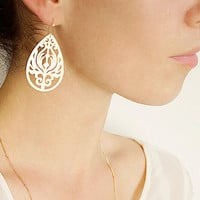 Plume Pendant Earrings - 14k Gold Filled Hooks & Golden Teardrop Earrings