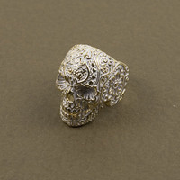 White Mex Skull Ring