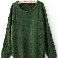 Twist Round Neck Green Sweater  S003416
