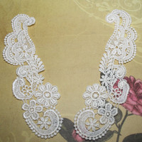 12 Ivory Lace Appliques with a scroll design and by CreationsbyLSM