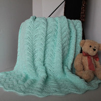Mint Ripple Blanket / Lapghan / Toddler / Baby Afghan