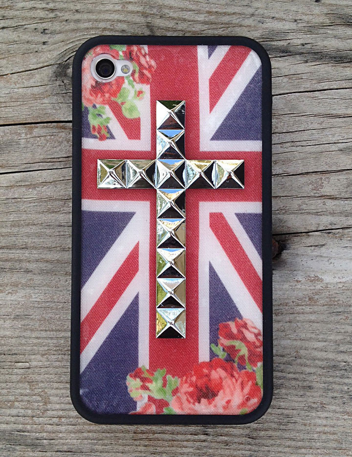 british rose silver cross iphone 4 4s from wildflower cases. Black Bedroom Furniture Sets. Home Design Ideas