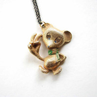 peace mouse necklace - recycled vintage jewelry -  rhinestone eyes / hippie boho jewelry