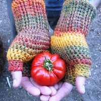 Unisex crochet fingerless gloves wrist warmers in fall medley, ready to ship.