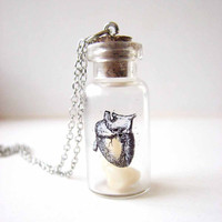 teeth &amp; heart specimen jar necklace - anatomical heart glass vial